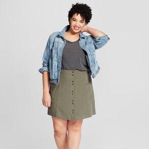 NWT Universal Thread Olive Green Linen Blend Skirt
